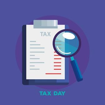 Иллюстрация налогового дня с документом и увеличительным стеклом