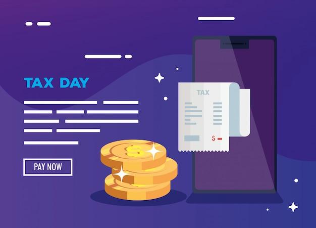 День налоговой иллюстрации с смартфон и деньги