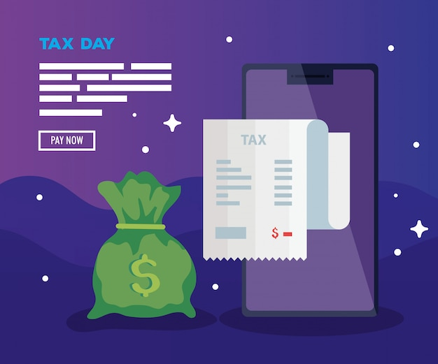 Tax day illustration with smartphone and bag of money