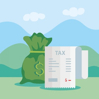 Tax day illustration with voucher paper