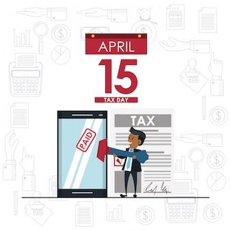 Tax day symbols and cartoons