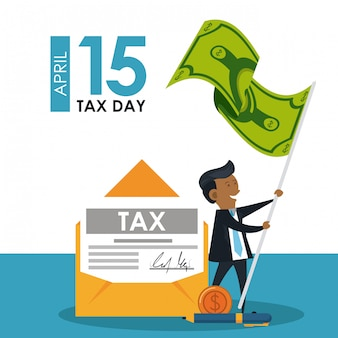 Tax day symbols and cartoons