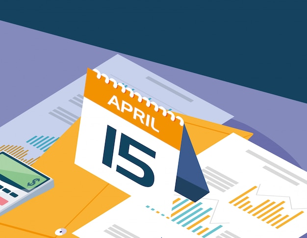 Tax day with calendar and statistics graphic
