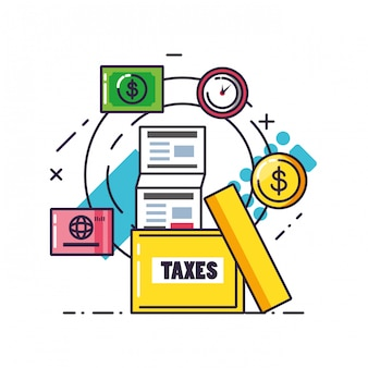 Tax day with document and set icons