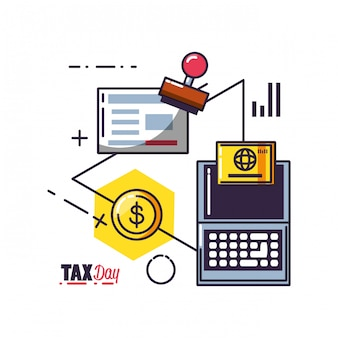 Tax day with laptop computer and set icons
