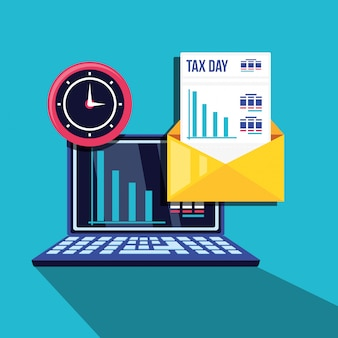 Tax day with laptop computer