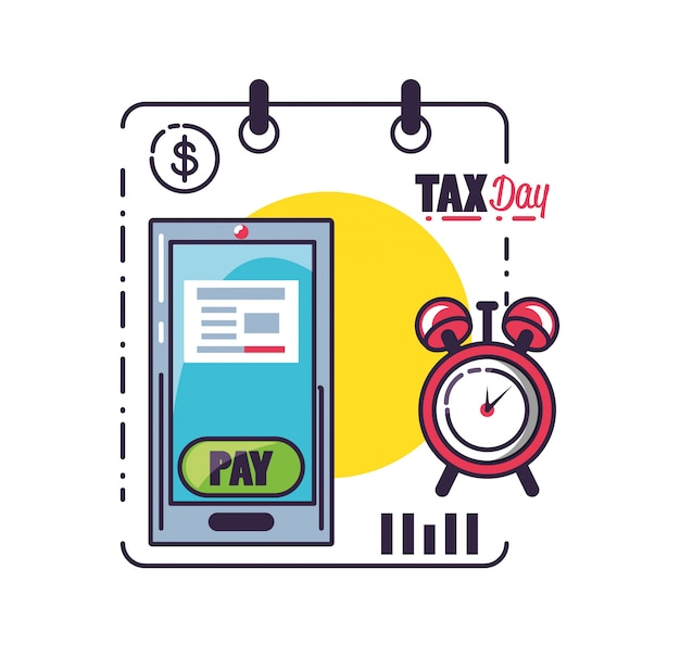Tax day with smartphone and set icons