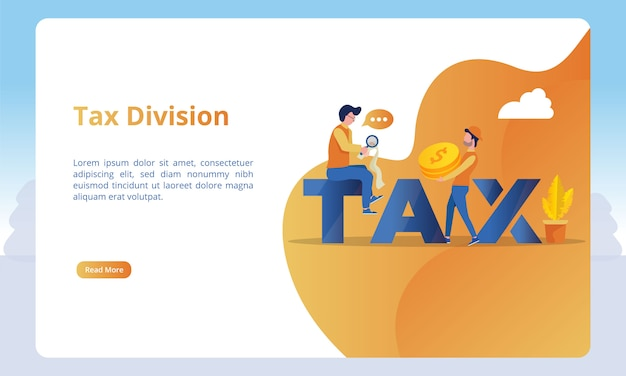 Tax division illustration for landing page templates