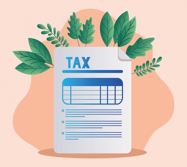 税務書類とリーフ