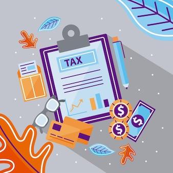 아이콘 모음이 있는 세금 문서