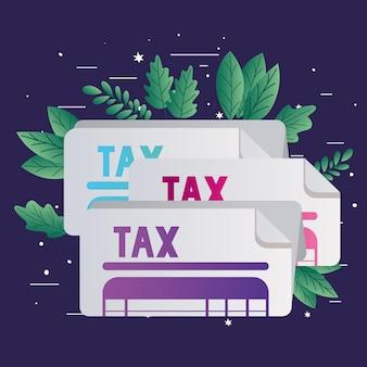 Налоговые документы и листья
