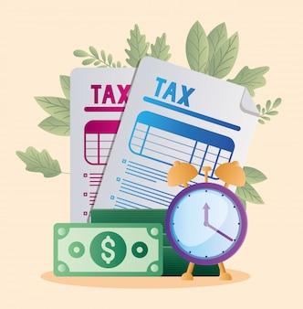 Tax documents bills and clock