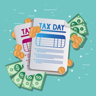 Tax documents bills and coins