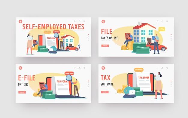 Набор шаблонов целевой страницы для заполнения налоговых электронных писем. персонажи рассчитывают онлайн-налоговые платежи. крошечные люди, заполняющие огромную анкету. программное обеспечение для онлайн-платежей по налогам, электронное заполнение. векторные иллюстрации шаржа