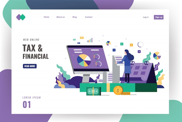 Tax and financial landing page template.