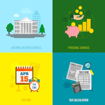Tax flat elements composition set