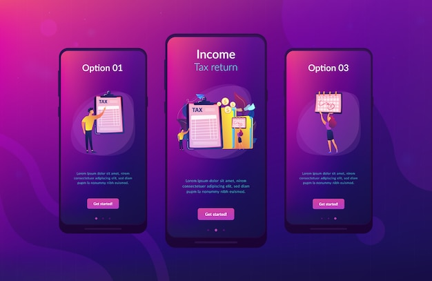 Tax form app interface template