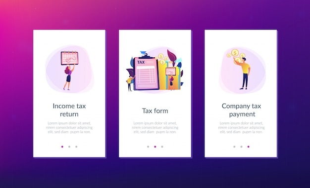 Tax form app interface template