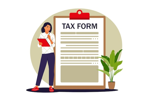 Концепция налоговой формы. оплата налогов онлайн. векторная иллюстрация. плоский