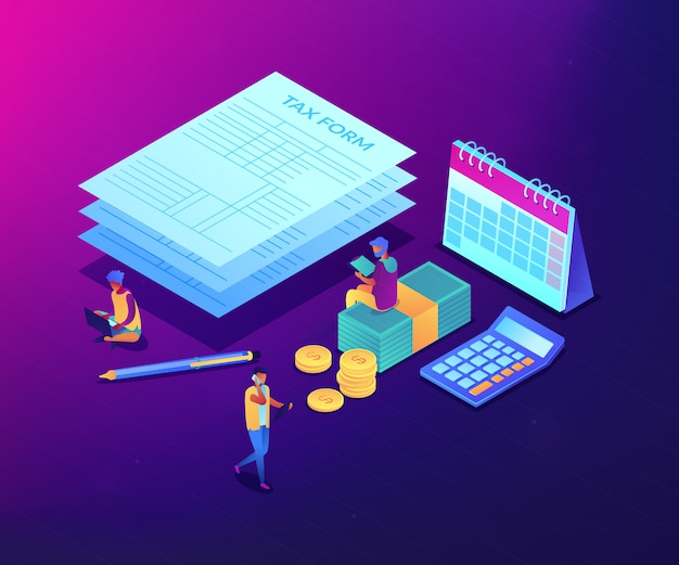 Tax form isometric 3d concept illustration.