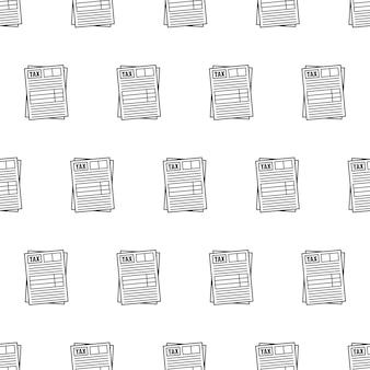 흰색 배경에 세금 양식 원활한 패턴입니다. 세금 테마 그림