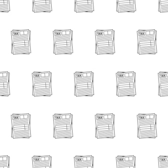 Tax form seamless pattern on a white background. tax theme illustration
