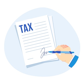 Tax form signing. corporate taxes report, businesses finance accounting and taxation  illustration