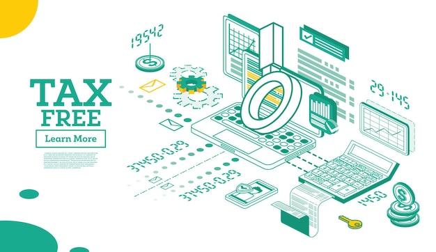 Концепция tax free в изометрической 3d стиле
