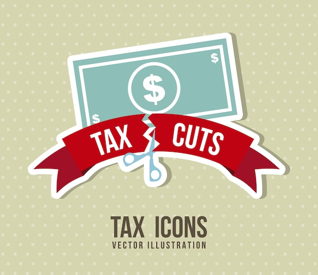 Tax icon over beige background vector illustration