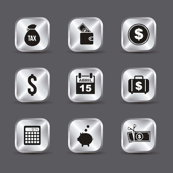 Tax icons over gray background vector illustration