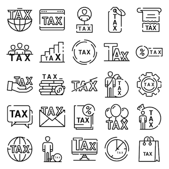 Tax icons set, outline style