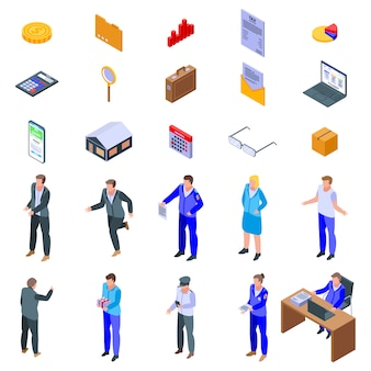 Tax inspector icons set