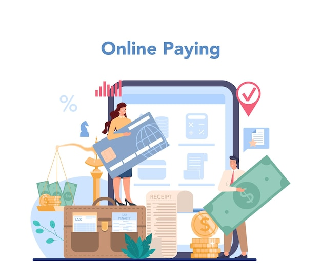 Tax inspector online service or platform. idea of accounting and payment. t