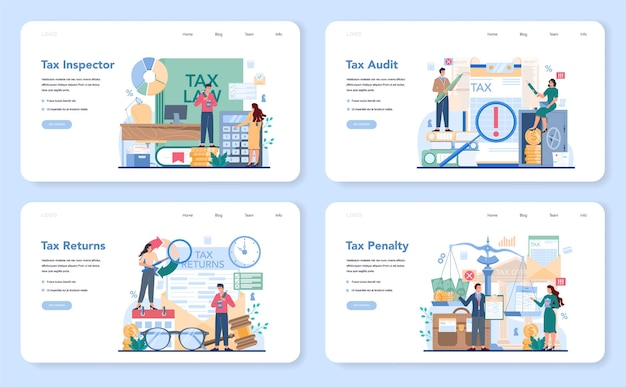 Tax inspector web banner or landing page set