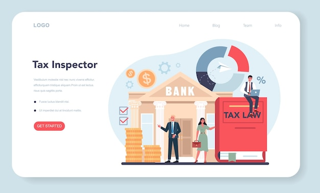 Tax inspector web template or landing page. idea of tax reporting and control. financial bill, financial legislation compliance monitoring. flat vector illustration