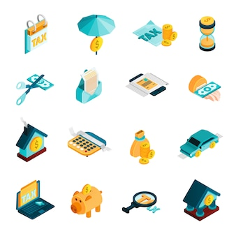 Tax isometric icons set