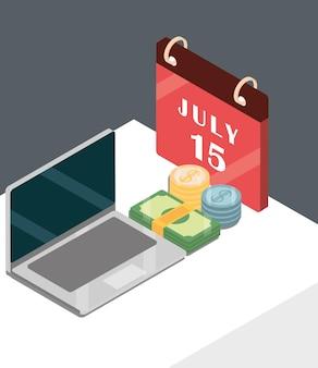 Налоговый календарь для ноутбука с деньгами в изометрической проекции