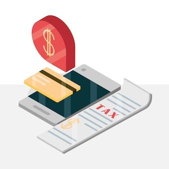 Налоговая банковская карта мобильных денег в изометрической проекции
