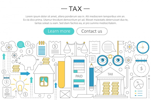 Tax, pay taxes flat line concept
