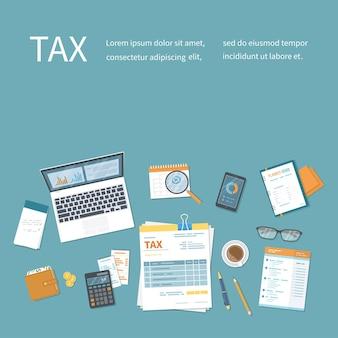 納税の概念。州政府の課税、税の計算、申告。請求書、請求書の支払い。