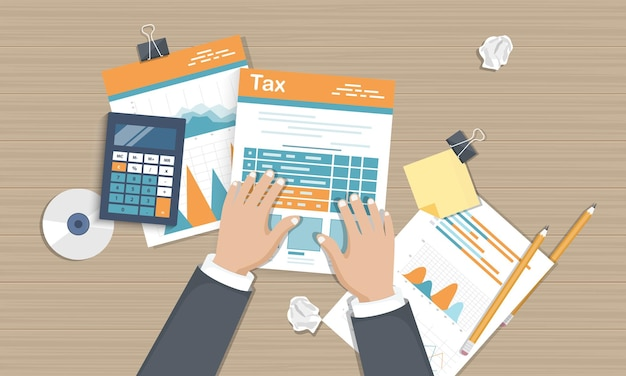 Tax payment documents, top view