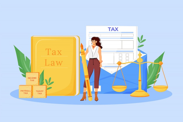 Tax payment expert flat concept illustration. financial consultant, economist 2d cartoon character for web design. financier consulting service, professional assistance creative idea