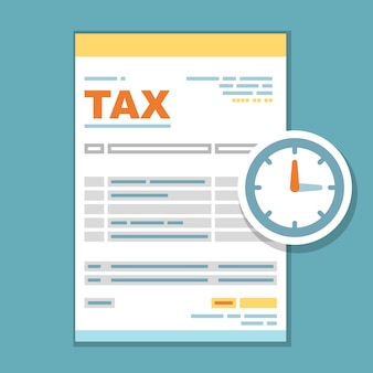 Tax payment time form illustration - reminder of state government taxation, tax form with clock