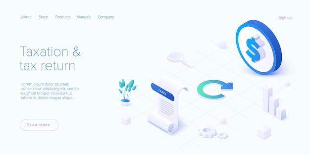 아이소 메트릭 디자인 방문 페이지의 세금 환급 개념