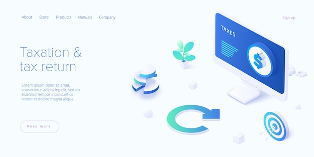 Tax return concept in isometric design landing page