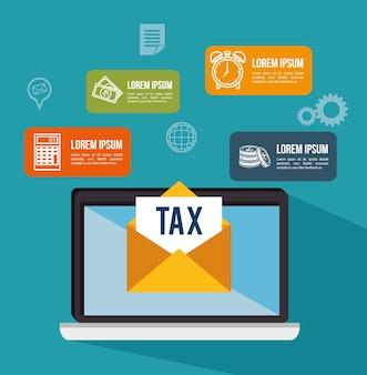 Tax return time set icons vector illustration design