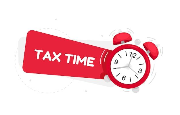 フラットなデザインの赤い目覚まし時計と税の時間バナーイラスト
