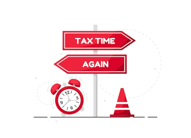 Tax time illustration with red direction sign and alarm clock in flat design