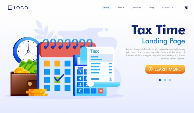 Tax time landing page website illustration vector