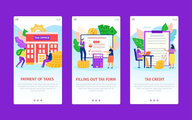 Tax time payment filling out form credit for business app screens set